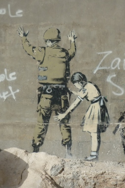 Banksy mural, in Bethlehem Palestine (my photo)