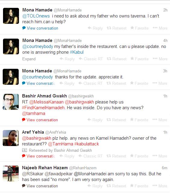 Tweeting a death Kabul